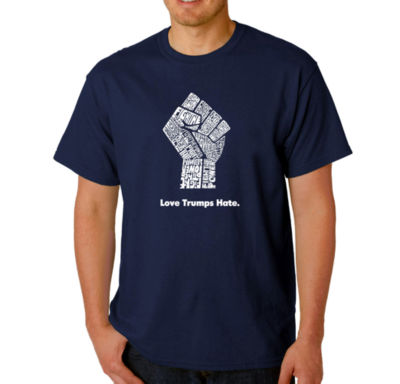 Los Angeles Pop Art Love Trumps Hate Fist Logo Graphic T-Shirt-Big and Tall