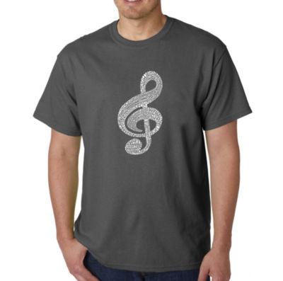 Los Angeles Pop Art Music Note Logo Graphic Word Art T-Shirt- Men's Big and Tall