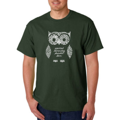 Los Angeles Pop Art Owl Logo Graphic Word Art T-Shirt- Men's Big and Tall