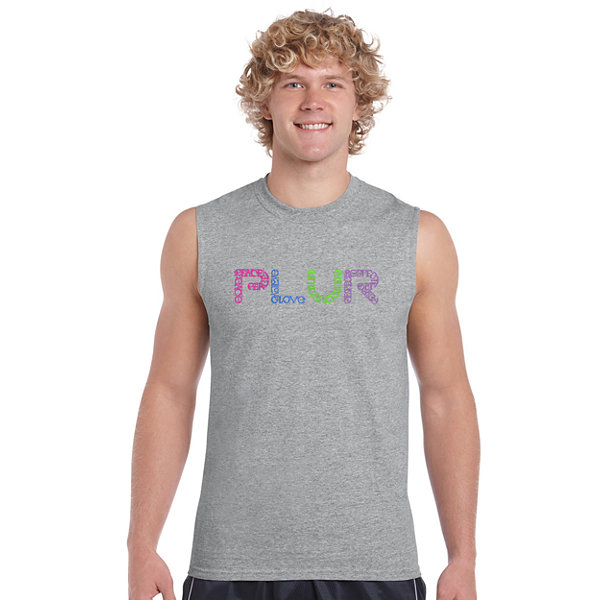 Los Angeles Pop Art Plur Sleeveless Word Art T-Shirt  Men's Big and Tall