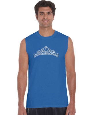 Los Angeles Pop Art Princess Tiara Sleeveless WordArt T-Shirt  Men's Big and Tall