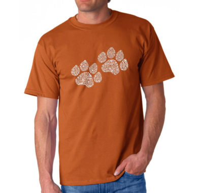 Los Angeles Pop Art Woof Paw Prints Logo Graphic Word Art T-Shirt- Men's Big and Tall