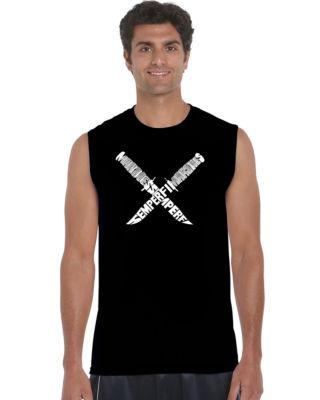 Los Angeles Pop Art Semper Fi Sleeveless Word ArtT-Shirt  Men's Big and Tall