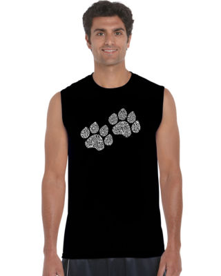Los Angeles Pop Art Woof Paw Prints Sleeveless Word Art T-Shirt  Men's Big and Tall