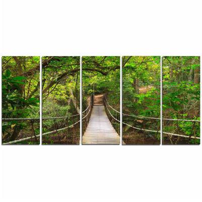Design Art Bridge To Jungle Thailand Landscape Photo Canvas Art Print - 5 Panels