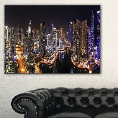 Design Art Dubai Marina View At Night Cityscape Canvas Print