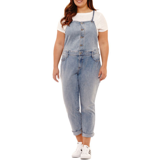 Arizona Button Front Overalls-Juniors Plus