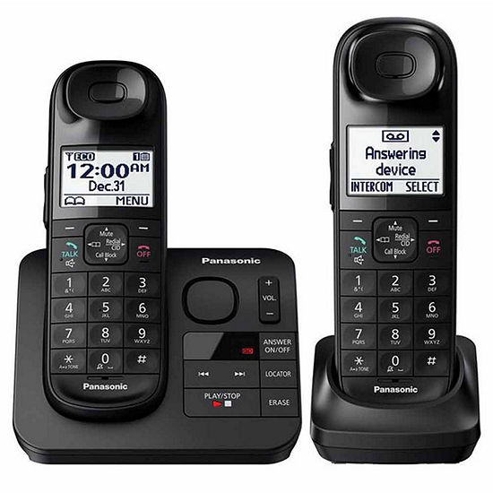 Panasonic KX-TGL432B DECT 6.0 Expandable Cordless Phone with Comfort Shoulder Grip and Answering Machine - 2 Handsets