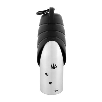 Handy Stainless Steel Pet Travel Water Bottle WithDrinking Bowl - Black Cap