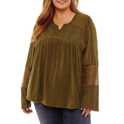 Long Sleeve Crochet Inset Blouse - Plus