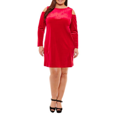 Boutique + Long Sleeve Cold Shoulder Velvet Bodycon Dress - Plus