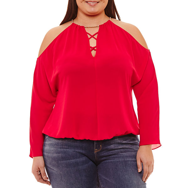Bold Elements Long Sleeve Round Neck Knit Blouse - Plus