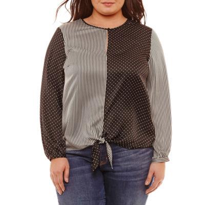 Belle + Sky Long Sleeve Round Neck Woven Blouse - Plus