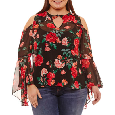 Belle + Sky Cold Shoulder Ruffle Sleeve Floral Blouse - Plus