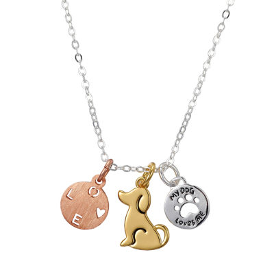 Sparkle Allure My Dog Loves Me Womens Pure Silver Over Brass Pendant Necklace