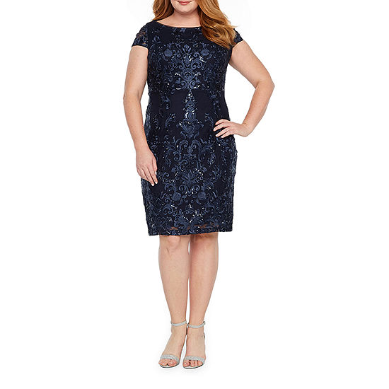 Blu Sage-Plus Short Sleeve Sheath Dress