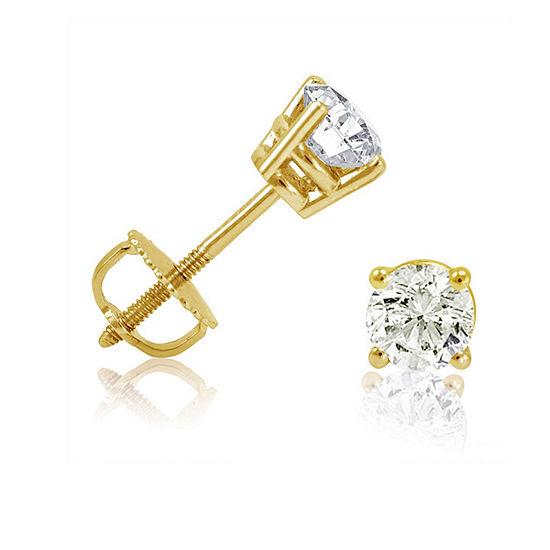 2 CT. T.W. Genuine White Diamond 14K Gold 7.7mm Stud Earrings