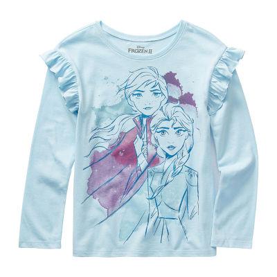 Disney 2 Girls Crew Neck Long Sleeve Frozen Graphic T-Shirt - Preschool / Big Kid