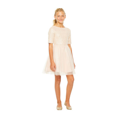 Lilt Girls Elbow Sleeve Fitted Sleeve Party Dress - Preschool / Big Kid