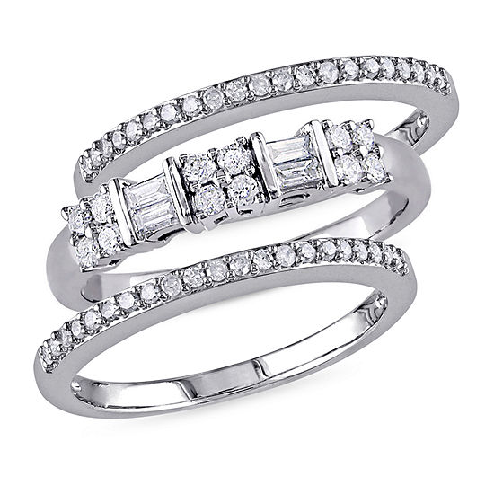 Womens 4.5MM 1/2 CT. T.W. Genuine White Diamond 10K White Gold Band