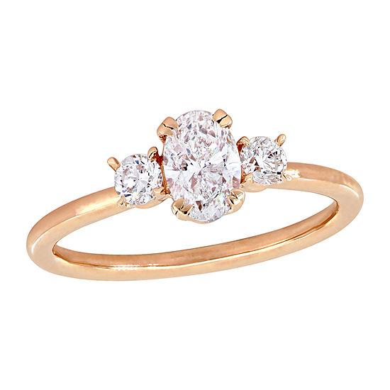 Womens 1 CT. T.W. Genuine White Diamond 14K Rose Gold 3-Stone Engagement Ring