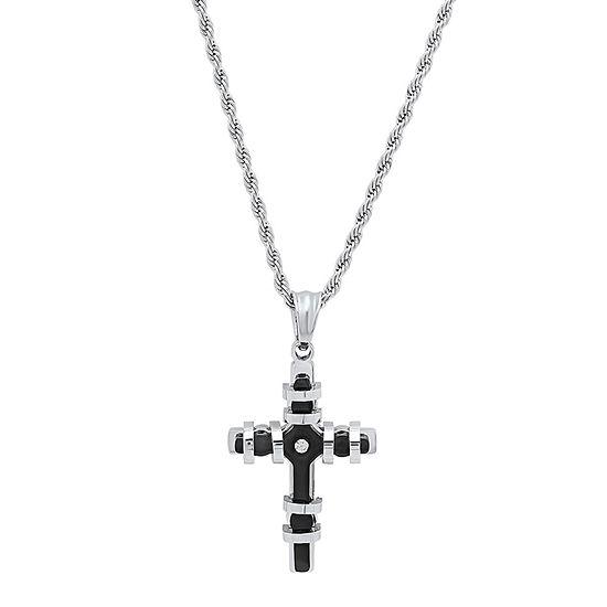 Mens Diamond Accent Cubic Zirconia Stainless Steel Cross Pendant Necklace