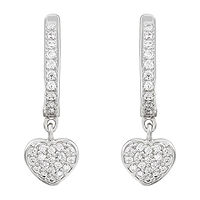 White Cubic Zirconia Sterling Silver Heart 2 Pair Earring Set