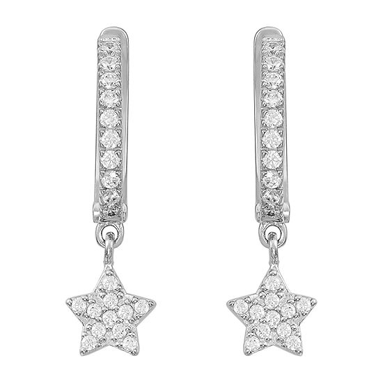 White Cubic Zirconia Sterling Silver Star 2 Pair Earring Set
