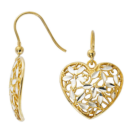 Made in Italy 24K Gold Over Silver Sterling Silver Heart Drop Earrings