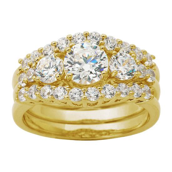 DiamonArt® Womens White Cubic Zirconia 14K Gold Over Silver Bridal Set