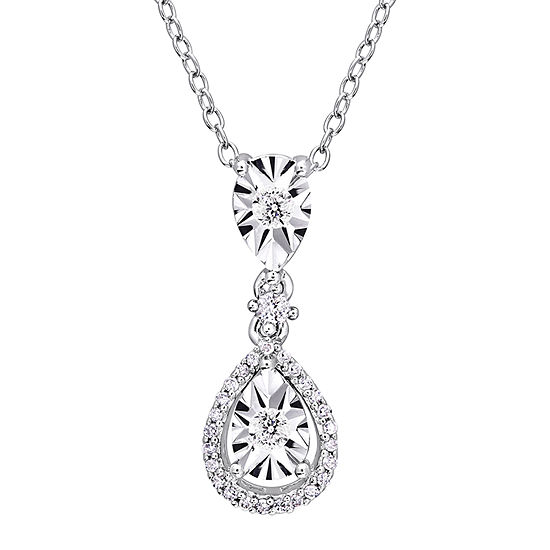 Womens 1/5 CT. T.W. Genuine White Diamond Sterling Silver Pendant Necklace