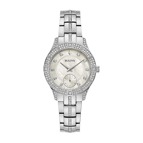 Bulova Womens Crystal Accent Silver Tone Stainless Steel Bracelet Watch - 96l291