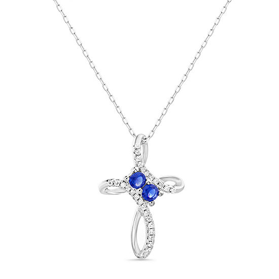 Silver Treasures Sapphire Sterling Silver 18 Inch Cable Cross Pendant Necklace