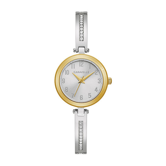 Caravelle Designed By Bulova Womens Crystal Accent Silver Tone Stainless Steel 2-pc. Watch Boxed Set-45x101