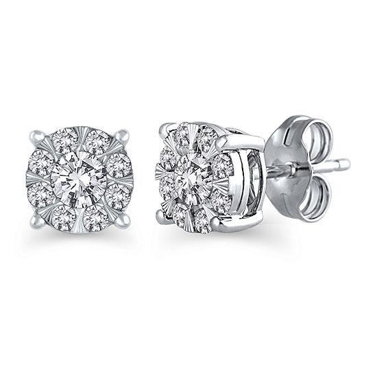 1/2 CT. T.W. Genuine White Diamond 10K White Gold 6.5mm Stud Earrings
