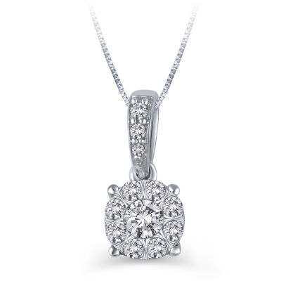 Womens 1/4 CT. T.W. Genuine White Diamond 10K White Gold Pendant