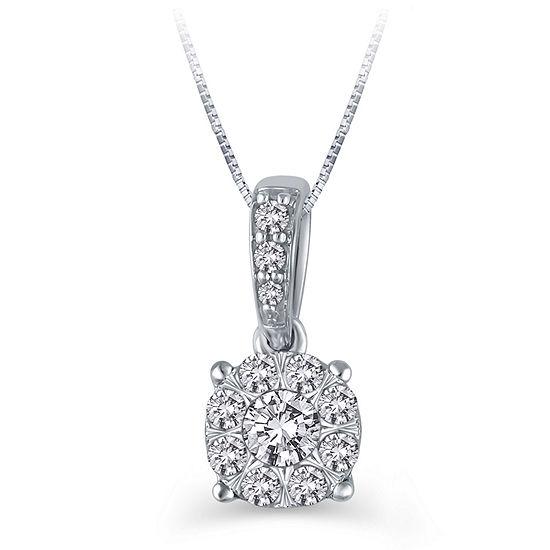 Womens 1/2 CT. T.W. Genuine White Diamond 10K White Gold Pendant