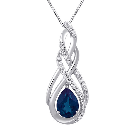 LIMITED TIME SPECIAL! Lab Created Blue Sapphire and Lab Created White Sapphire Pendant Necklace in Sterling Silver