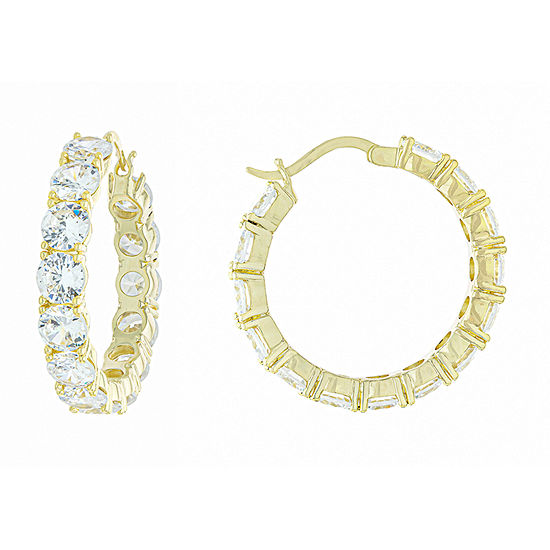 Sparkle Allure Cubic Zirconia 18K Gold Over Brass Hoop Earrings