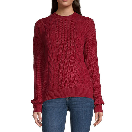 Almost Famous-Juniors Womens Crew Neck Long Sleeve Pullover Sweater