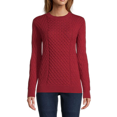 St. John's Bay Womens Crew Neck Pullover Sweater, X-small , Red