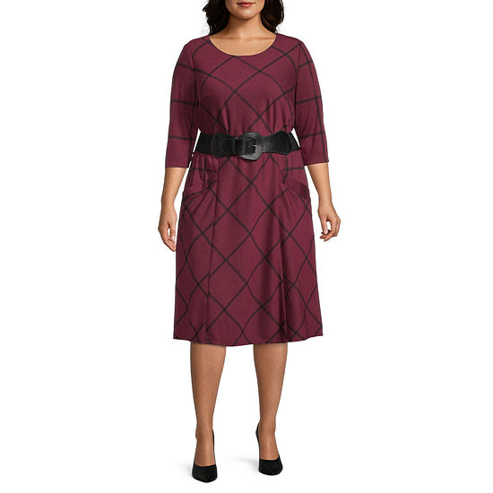 Chris Mclaughlin-Plus 3/4 Sleeve Windowpane Midi Fit & Flare Dress
