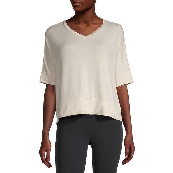 Stylus Step Hem Womens V Neck Short Sleeve Sweatshirt