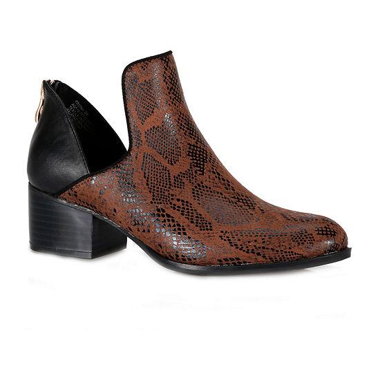 Andrew Geller Womens Friona  Block Heel Booties