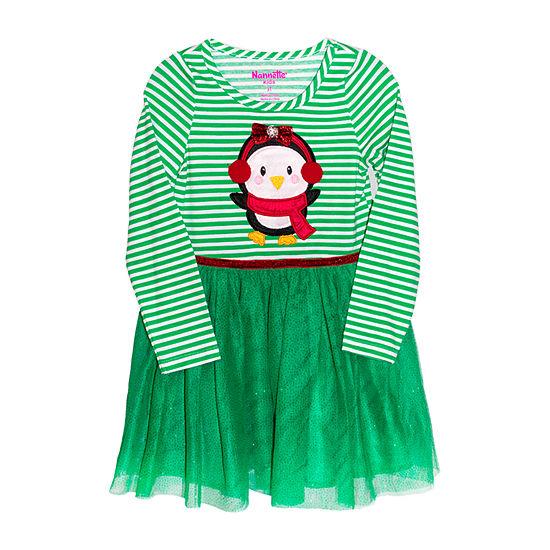 Nannette Baby Toddler Girls Long Sleeve A-Line Dress