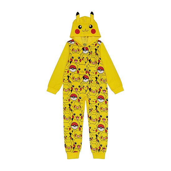 Little & Big Boys Microfleece Pokemon Long Sleeve One Piece Pajama