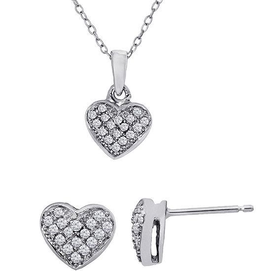 1/4 Ct. T.W. Diamond Heart Necklace & Earrings Set