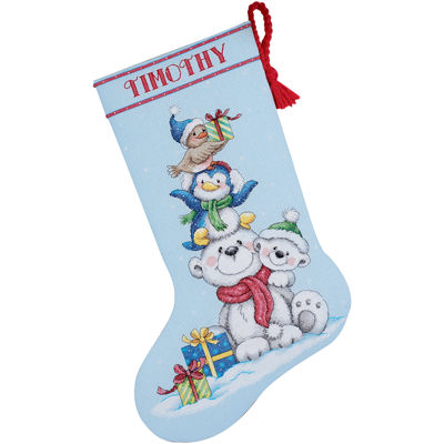 Counted Cross Stitch Stocking – Stack of Critters