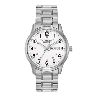 Citizen® Mens Easy Reader Silver-Tone Expansion Strap Watch BF0610-91A