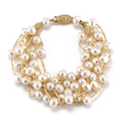 14k Yellow Gold Over Silver Cultured Freshwater Pearl Multi Strand